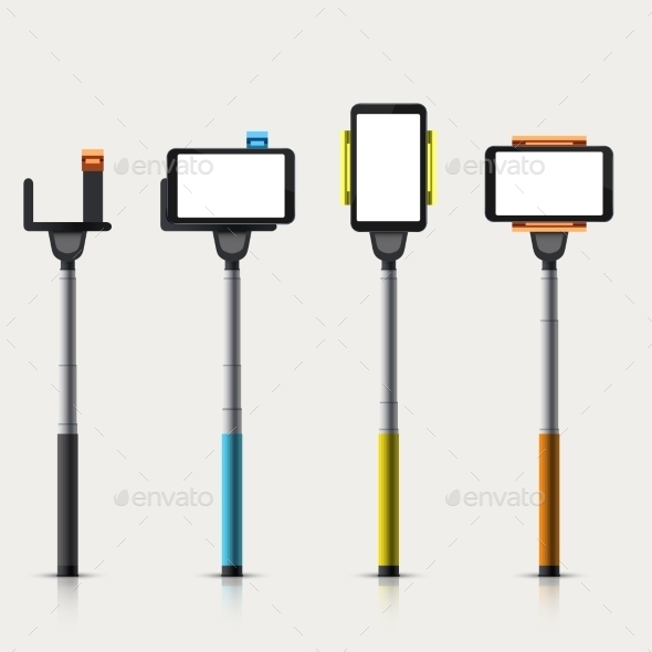 Vector Set Of Modern Monopod For Self  - People Characters