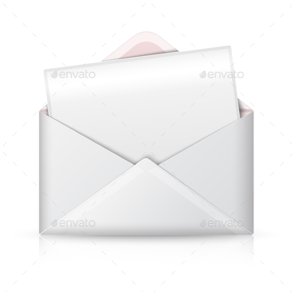 Blank Realistic Vector White Opened Envelope - Web Technology