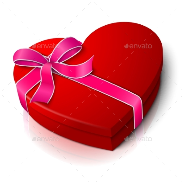 Vector Realistic Blank Bright Red Heart Shape Box - Valentines Seasons/Holidays