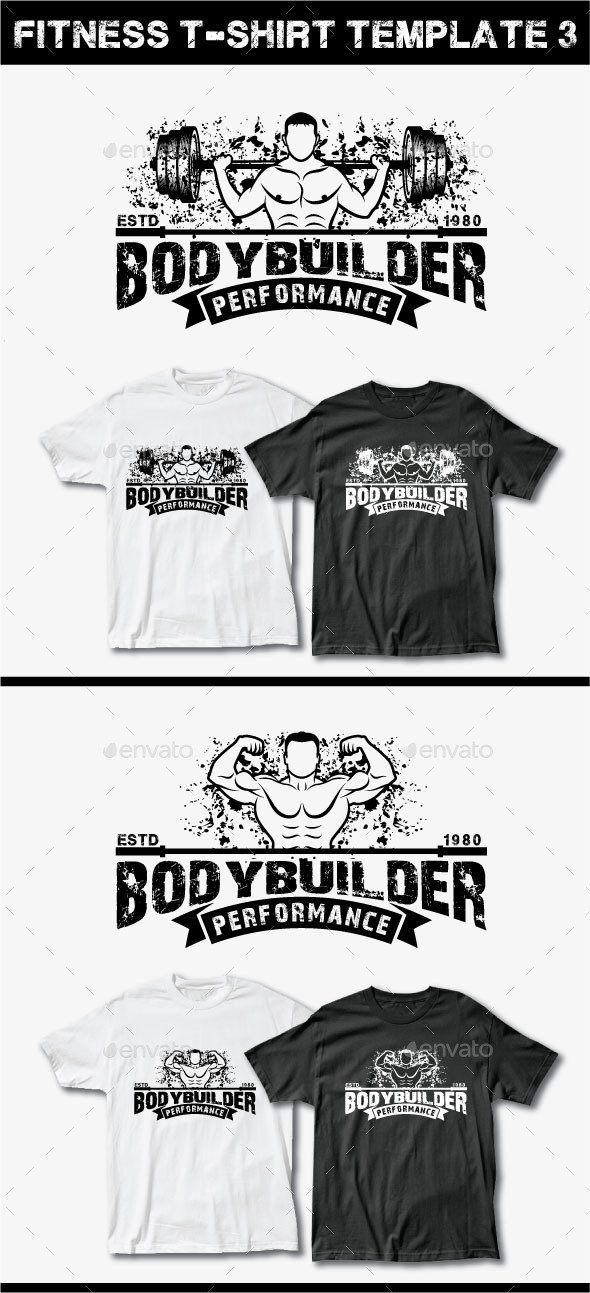 Fitness T-Shirt Template 3 - Grunge Designs
