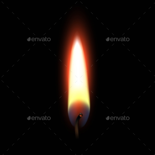 Fire Flame Isolated On Black Background - Miscellaneous Vectors