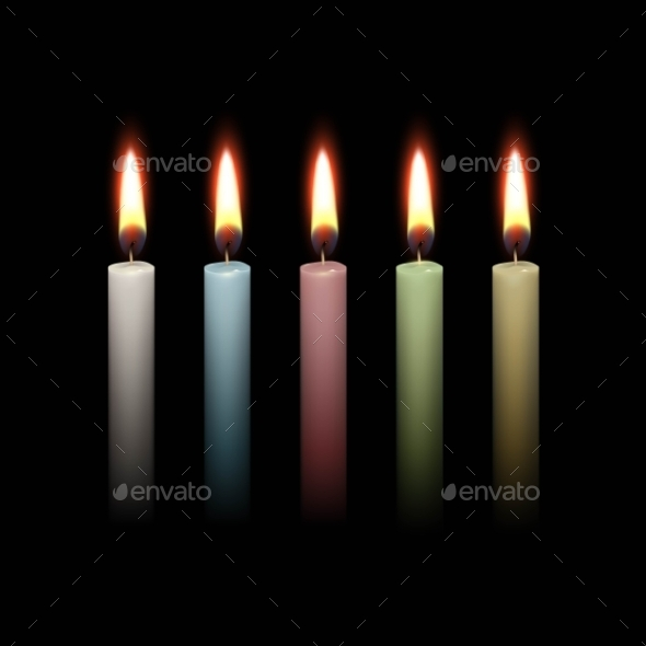 Candles Flame Fire Light Isolated Background - Miscellaneous Vectors