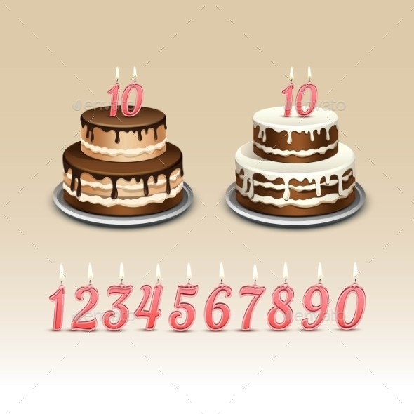 Birthday Cake with Candles Numerals - Birthdays Seasons/Holidays