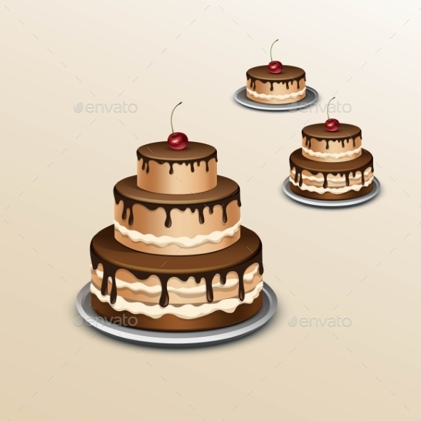 Birthday Cake With Cherry. Isolated On Background - Miscellaneous Vectors
