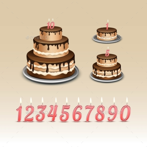 Birthday Cake With Candles Numerals - Miscellaneous Vectors