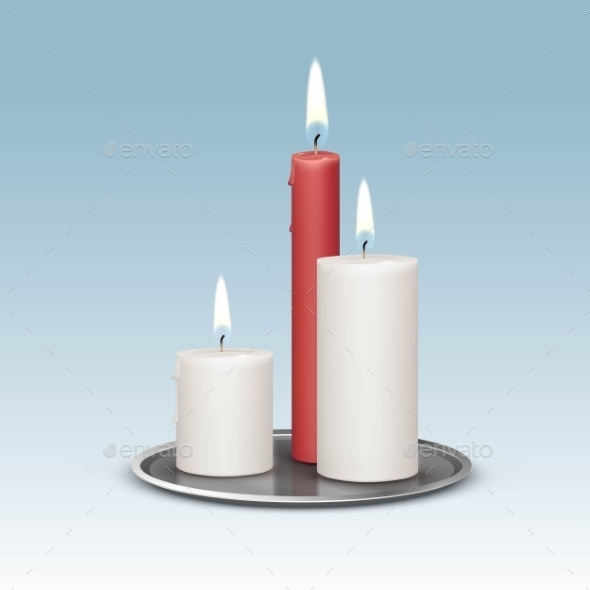 Candles On The Metal Candlesticks Trays - Miscellaneous Vectors