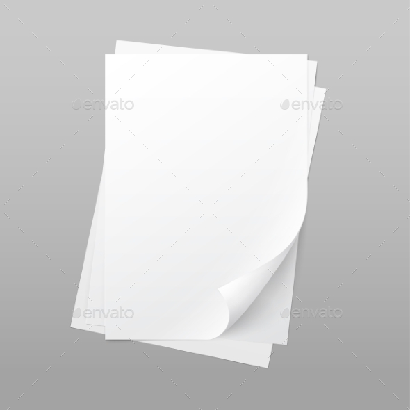 White Blank Paper Page Sheet with Corner Curl - Miscellaneous Vectors