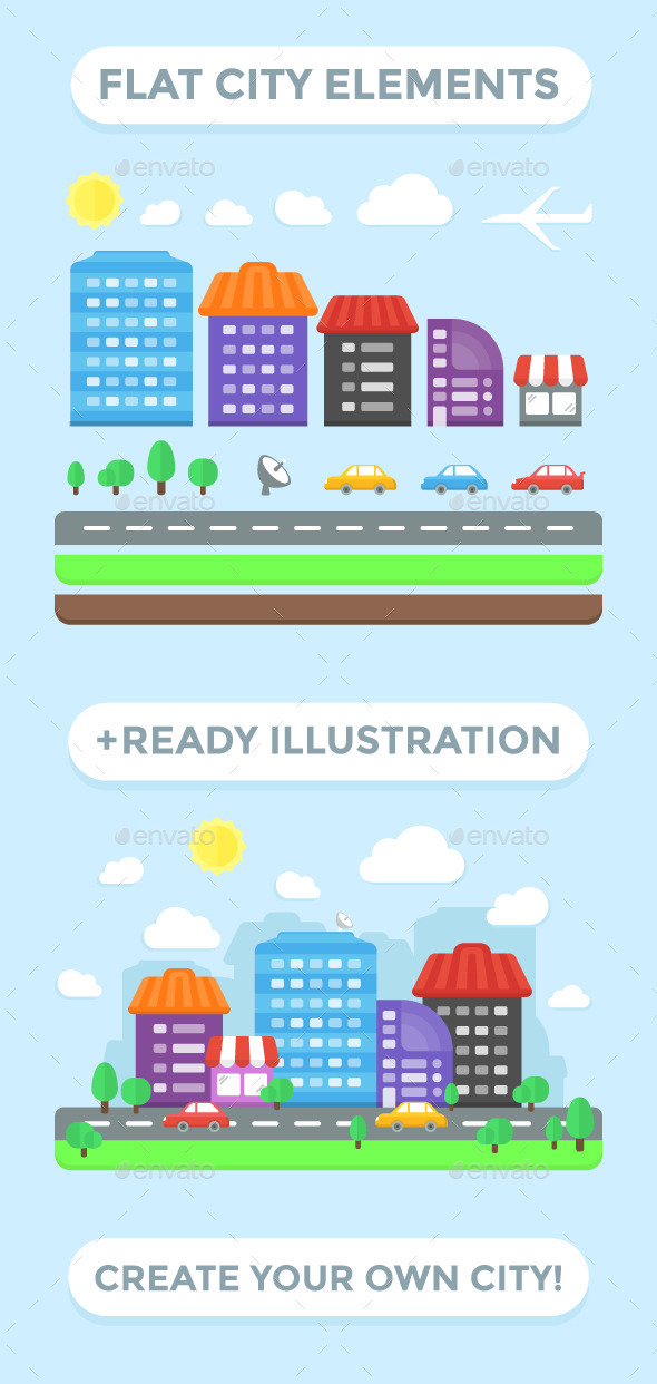 City Elements and Ready Illustration - Buildings Objects