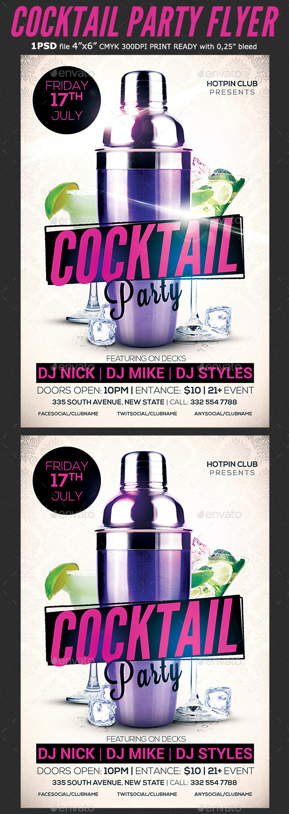 Cocktail Party Flyer Template 3 - Clubs & Parties Events