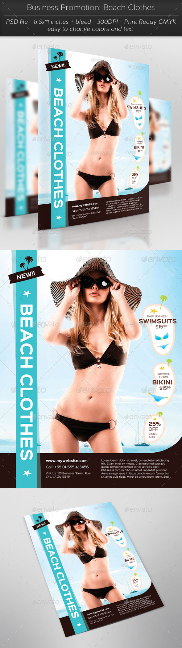Business Promotion: Beach Clothes - Flyers Print Templates