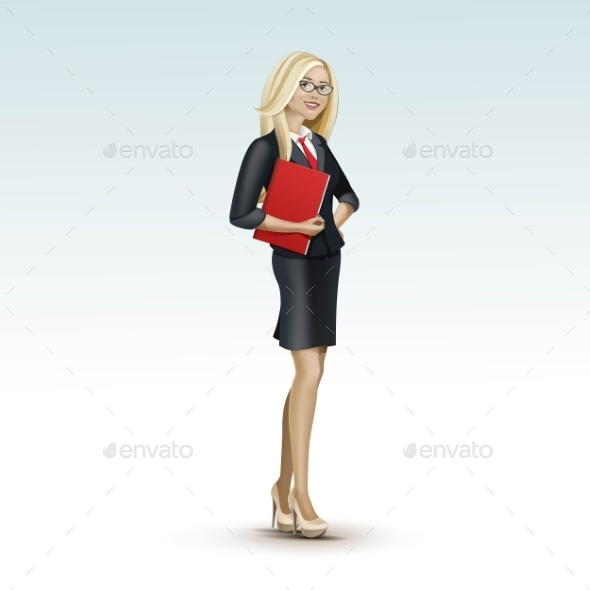 Blonde Business Woman Girl In Suit And Glasses - Miscellaneous Vectors