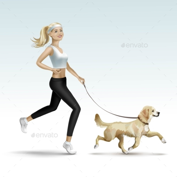 Blonde Woman Jogging with Dog - Miscellaneous Vectors