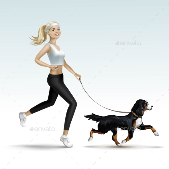Blonde Woman Girl Female Jogging With Dog - Miscellaneous Vectors
