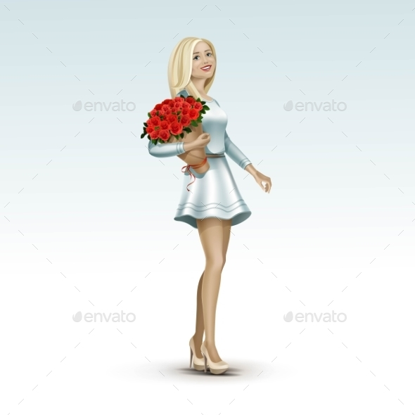 Blonde Woman Girl In Dress With Flowers - Miscellaneous Vectors