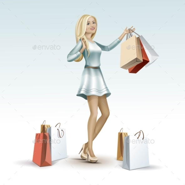 Blonde Woman Girl In Dress With Shopping Bags - Miscellaneous Vectors