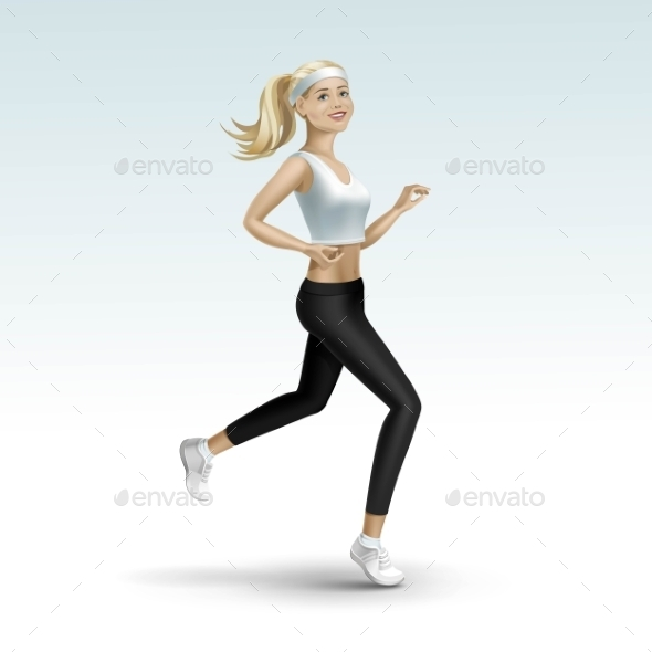 Blonde Woman Girl Female Running Jogging - Miscellaneous Vectors