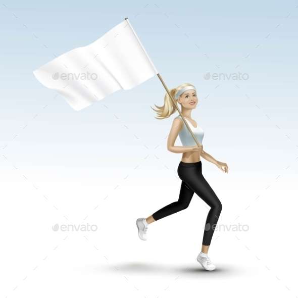 Blonde Woman Jogging with a Flag - Miscellaneous Vectors