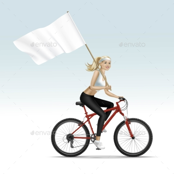 Blonde Woman Riding a Bicycle with Flag - Miscellaneous Vectors