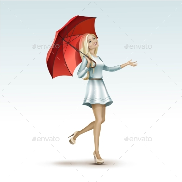 Blonde Woman Under a Red Umbrella in Dress - Miscellaneous Vectors