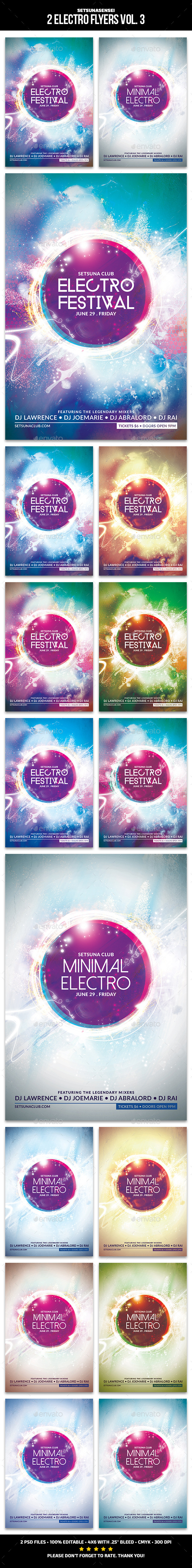 2 Electro Flyers Vol. 3 - Clubs & Parties Events