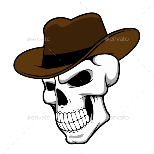 Cowboy Skull Wearing a Stylish Fedora Hat - Tattoos Vectors