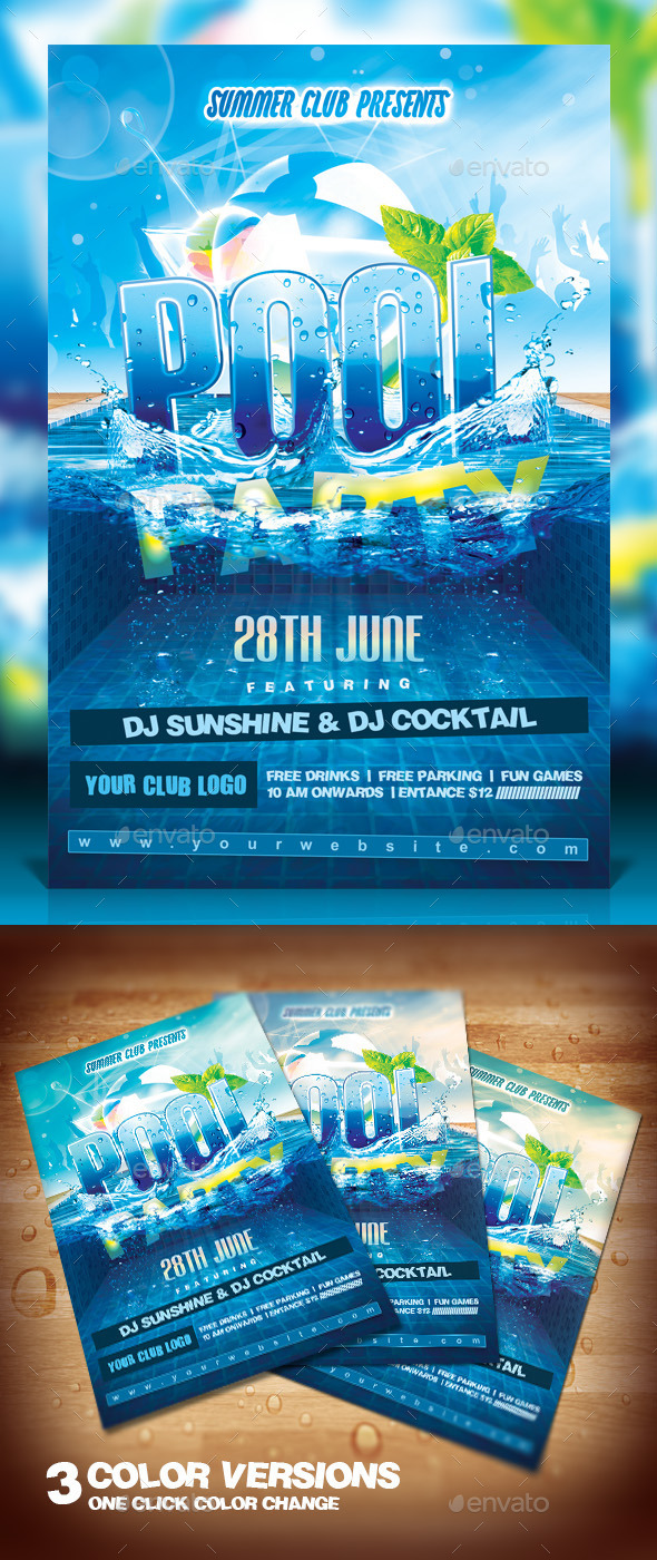 Summer Pool Party Flyer by Dilanr | GraphicRiver