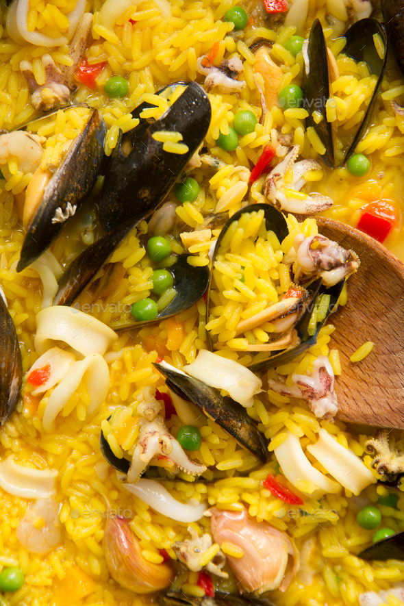 Cooking paella - Stock Photo - Images