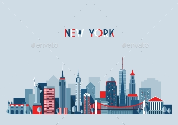New York City Architecture Vector Illustration - Travel Conceptual