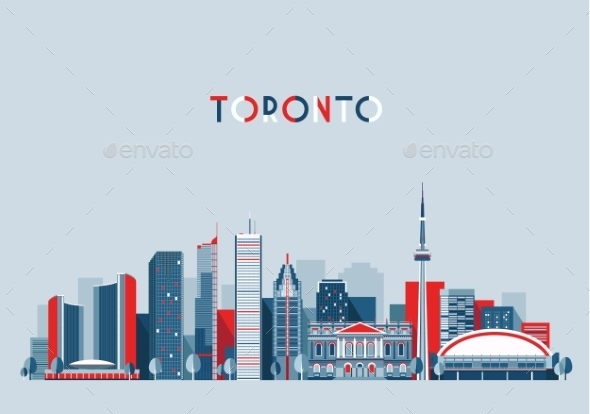 Toronto Canada City Skyline Flat Trendy Vector - Buildings Objects