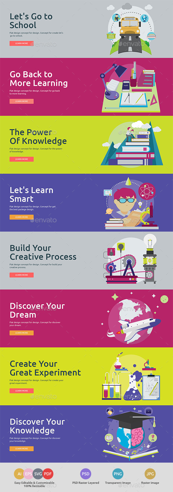 Flat Concept Banners for Education - Conceptual Vectors