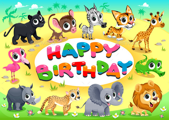 Happy Birthday Card With Jungle Animals By Ddraw Graphicriver