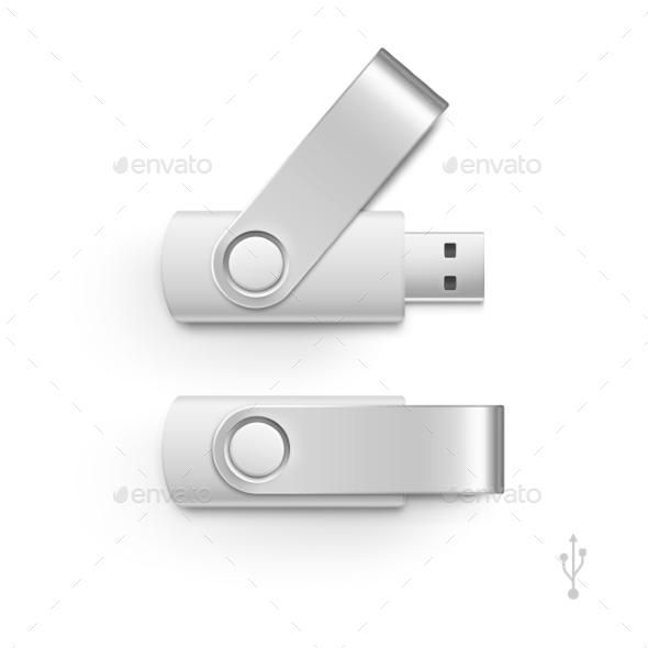 USB Flash Drive Stick Memory Vector Set Isolated - Miscellaneous Vectors