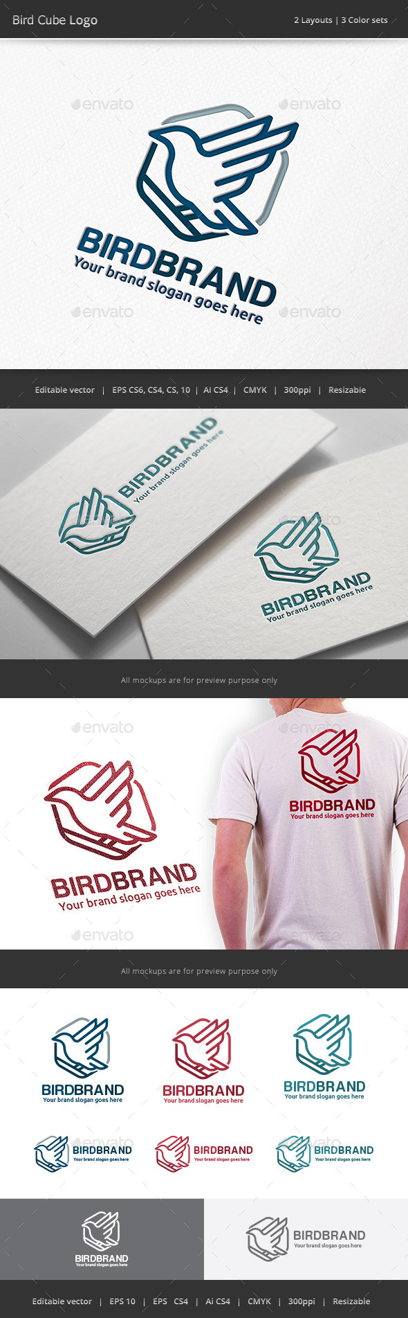 Bird Cube Logo - Animals Logo Templates