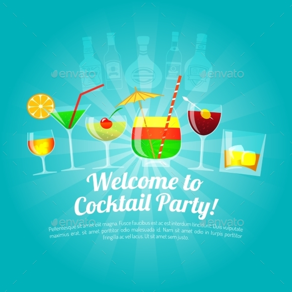 Alcohol Flat Illustration - Food Objects