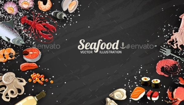 Seafood And Fish Background - Food Objects