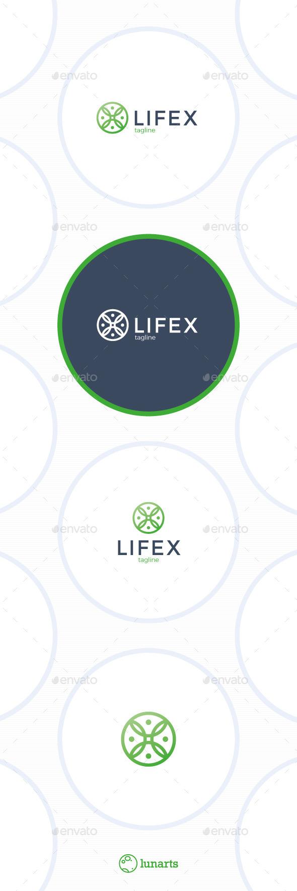 Life Yoga  Logo - Letter X - Nature Logo Templates