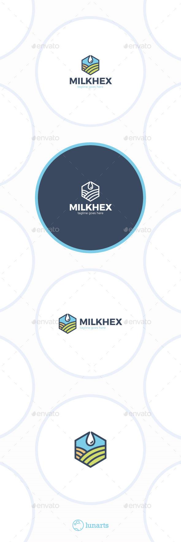 Hexagon Milk Logo - Drop Field - Nature Logo Templates