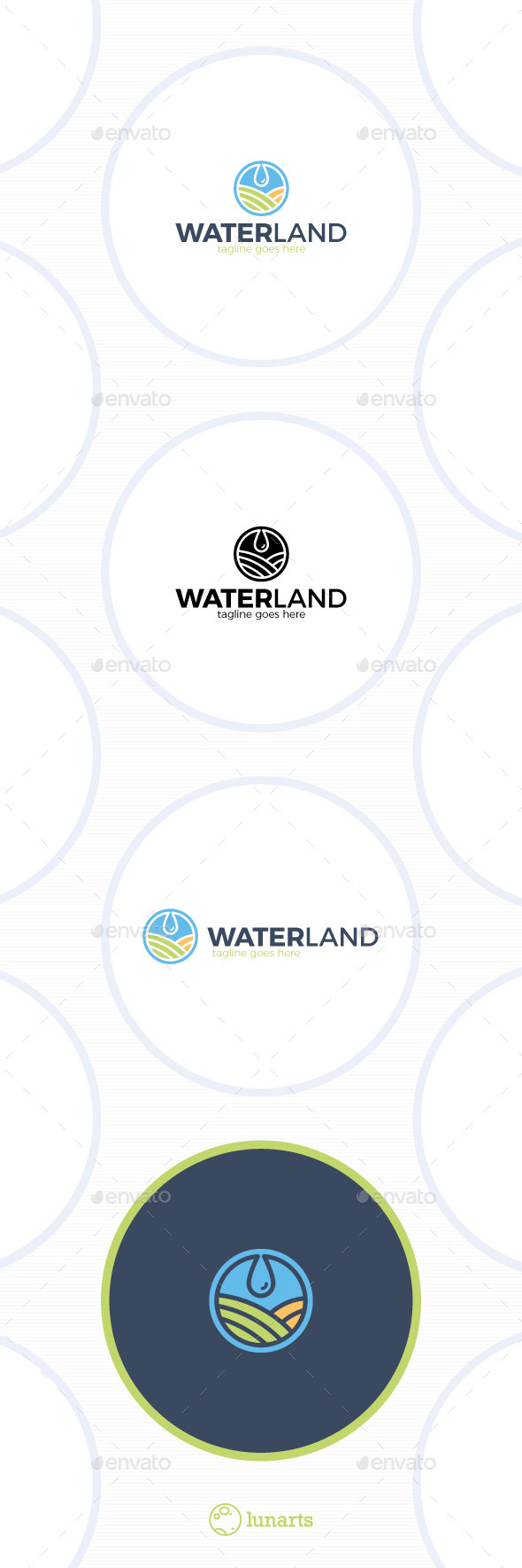 Water Land Logo - Drop Field - Nature Logo Templates