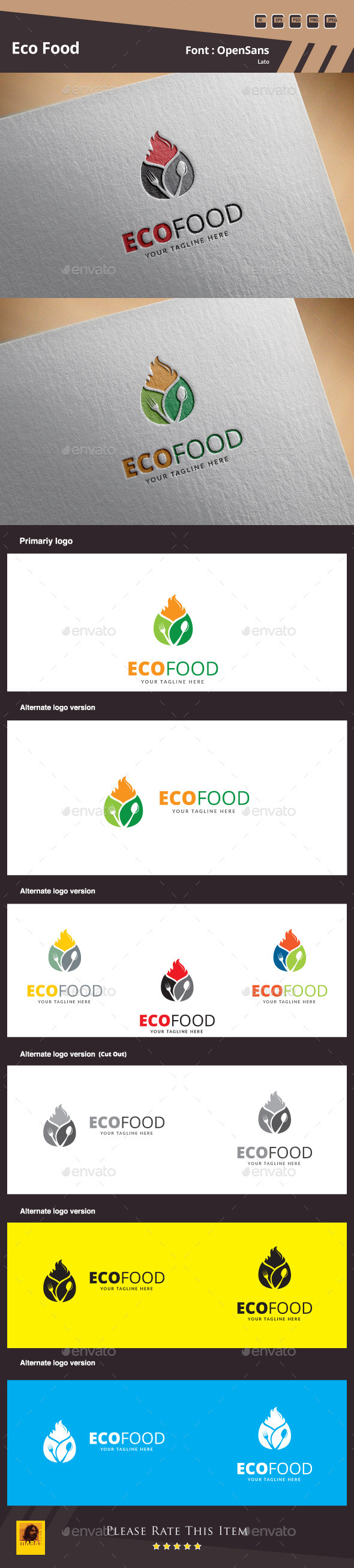 Eco Food Logo Template - Food Logo Templates
