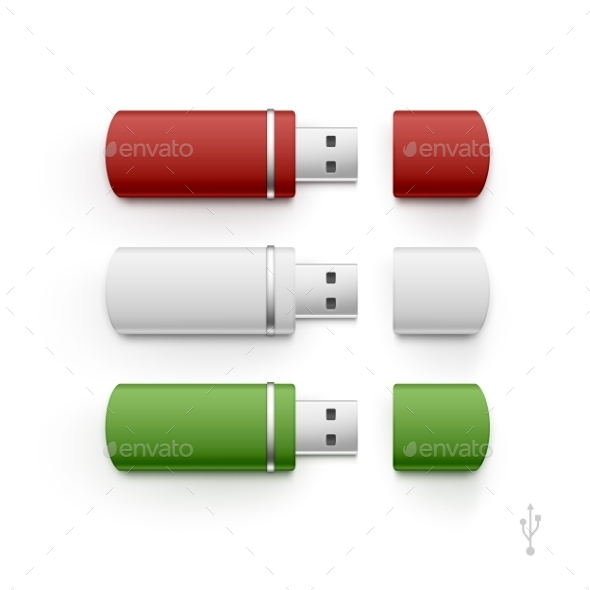 USB Flash Drive Stick Memory Vector Set Isolated - Miscellaneous Vectors