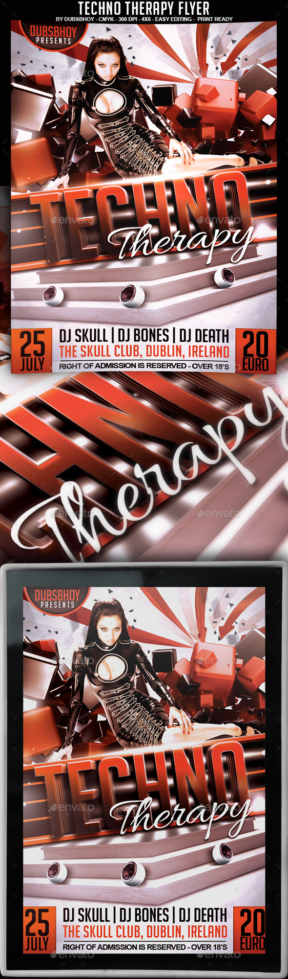 Techno Therapy Flyer - Flyers Print Templates