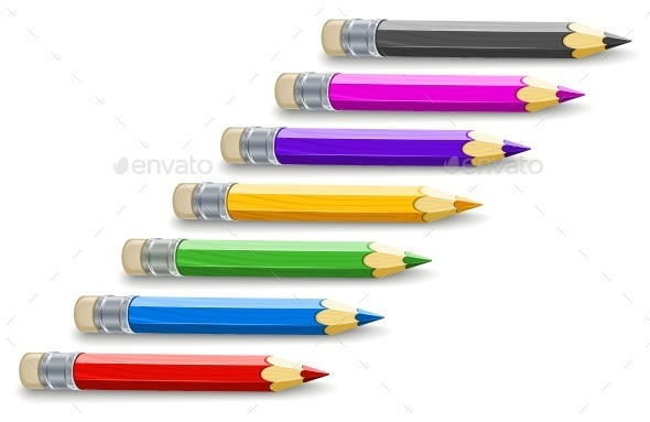 Set of Colour Pencils For Drawing - Man-made Objects Objects