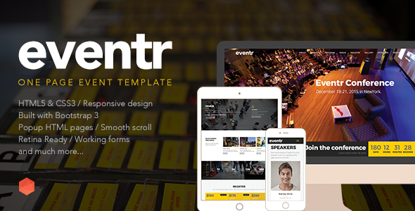 Eventr One Page Event Template By Themecube Themeforest