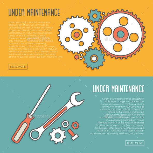 2 Under Maintenance Website Page Message Banners - Web Elements Vectors