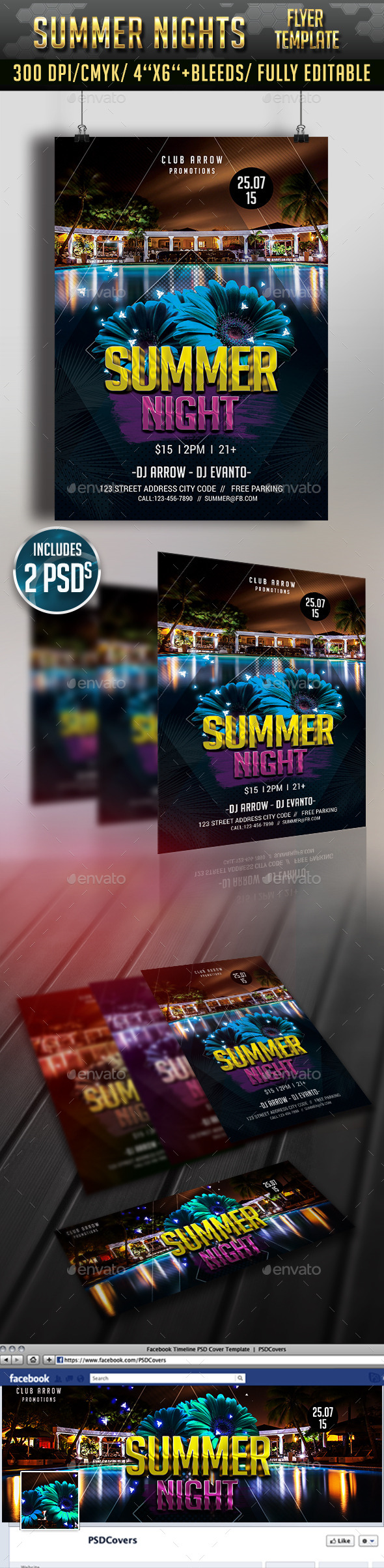 Summer Night Flyer and Facebook Cover - Clubs & Parties Events
