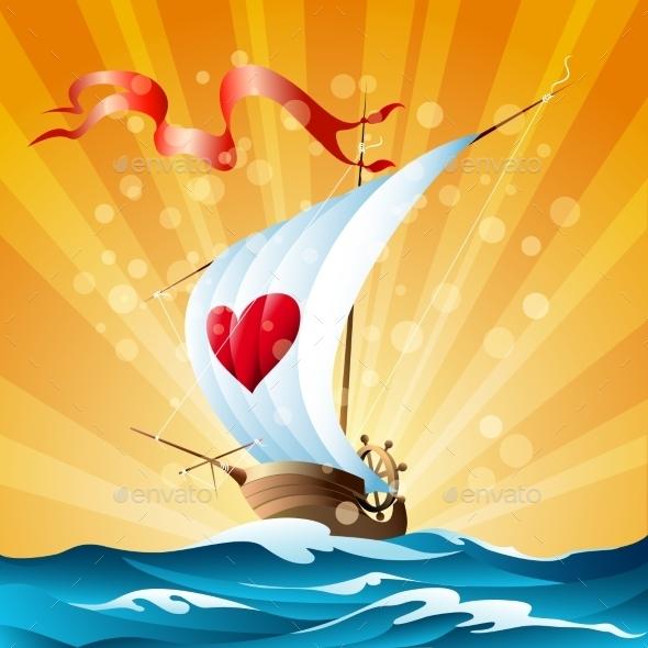 Cartoon Boat - Travel Conceptual