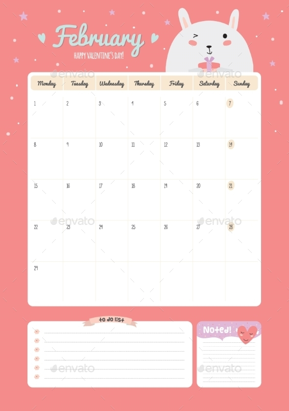 Cute Calendar Diary Template For 2016 With Animals By Ruslanavasiukova