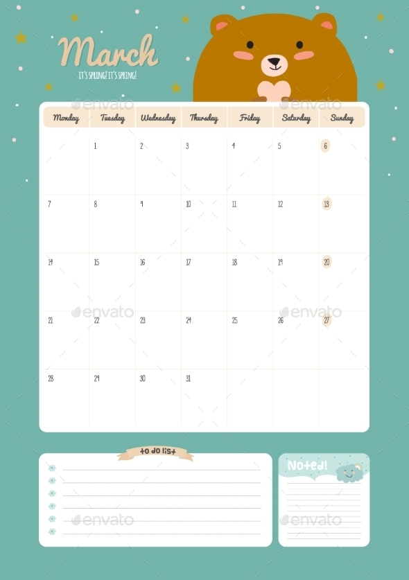Cute Calendar Diary Template For 2016 With Animals - Backgrounds Decorative