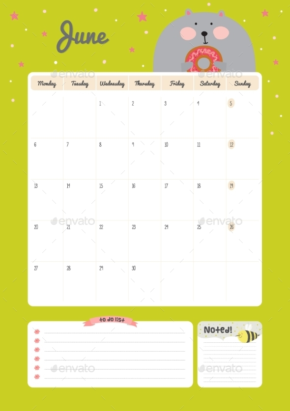 Calendar Diary Template For 2016 With Animals - Backgrounds Decorative