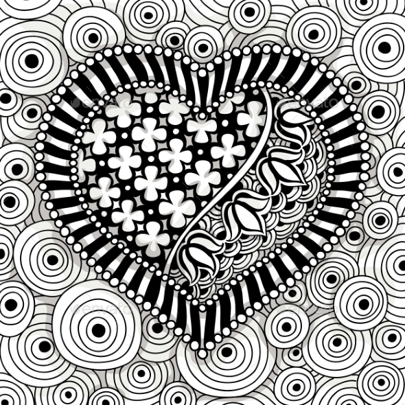 Vector Black And White Heart Pattern - Backgrounds Decorative